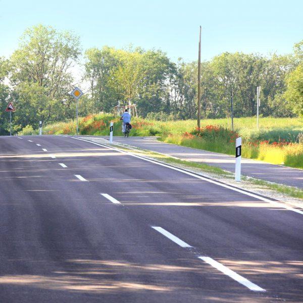 Kreisstraße mit parallel geführtem Geh- und Radweg